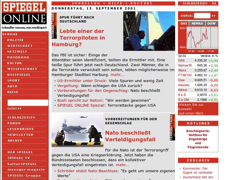 Spiegel online zwei Tage nach 9/11